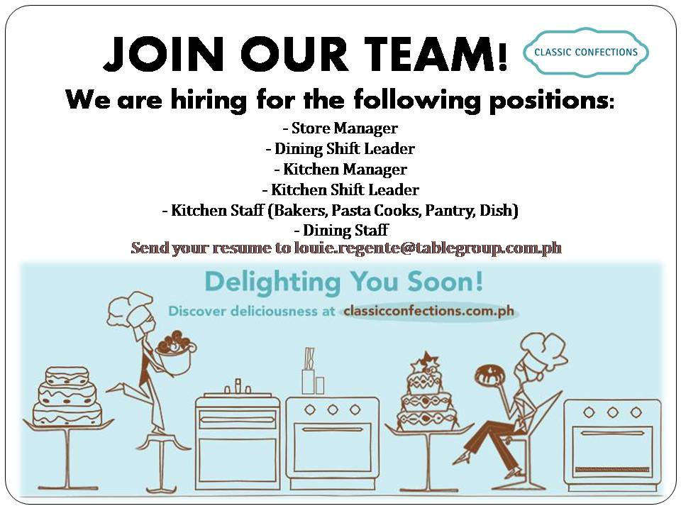We Are Hiring For The Following Positions: Store Manager Dining Shift  Leader Kitchen Manager Kitchen Shift Leader